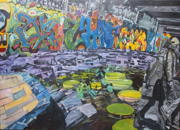 jasmir creed 'underpass' 2018 oil on canvas 213 x 152 cm