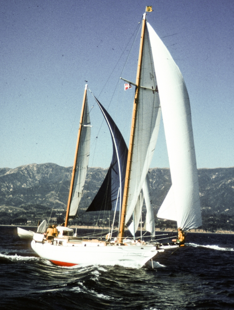 First of 38,000 miles that the Bercaw family sailed in their circumnavigation of the globe aboard the 38-foot ketch Natasha. Photo courtesy of Mary K. Bercaw Edwards.